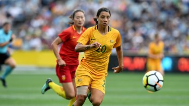 Supporter: Sam Kerr, in action for the Matildas, wants Bolt to make the cut.