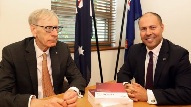 Justice Kenneth Hayne, with Treasurer Josh Frydenberg on Friday, after presenting the government with his final report from the Royal Commission into Misconduct in the Banking, Superannuation and Financial Services Industry.