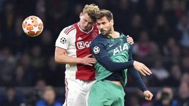 'A nightmare': Ajax's Matthijs de Ligt (left) with Tottenham's Fernando Llorente.