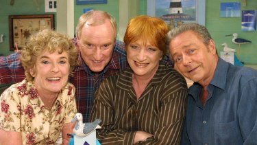 Judy Nunn (left), Ray Meagher, the late Cornelia Frances and Norman Coburn on the long-running Seven soap opera Home and Away.