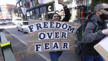 A protestor at the anti-lockdown rally in Sydney on Saturday.