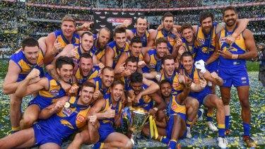 Champions: West Coast celebrate winning the 2018 AFL premiership.