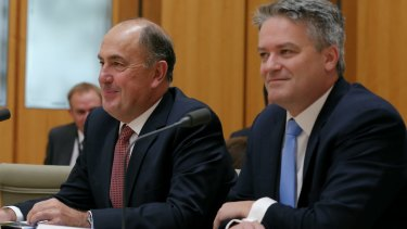 The (now former) Treasury secretary John Fraser with Finance Minister Mathias Cormann.