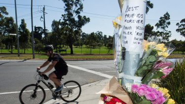 A tribute is seen on the corner of Whitehall Street and Somerville Road in Yarraville for Melbourne mother Arzu who was killed while riding her bike.