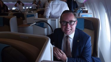Alan Joyce taking an Airbus A350-1000 for a test flight in February 2018.