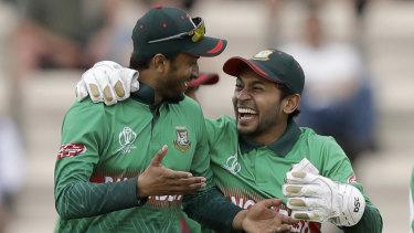 Bangladesh star Shakib Al Hasan (left) is the tournament's leading run scorer and took 5-29 against Afghanistan.