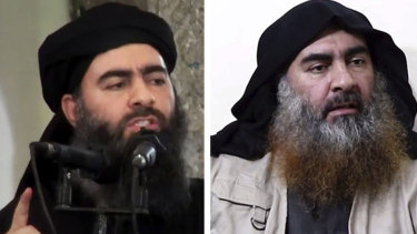 Islamic State leader Abu Bakr al-Baghdadi last appeared in a video in 2014 (left). A new video was released on Tuesday (right).
