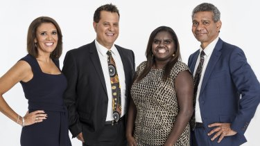 Shelley Ware, (far left) and the team from long-running cult hit, The Marngrook Footy Show. Grant Hansen (centre left), Leila Gurruwiwi (centre right) and Gilbert McAdam (right).