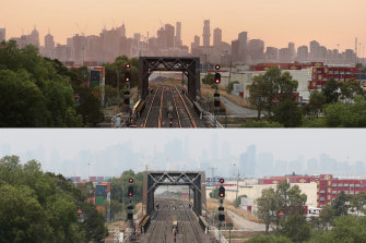 Smoke haze over Melbourne on Monday morning and on Monday afternoon.