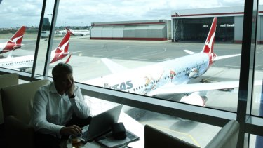 The Qantas Business Lounge at Sydney Airport.