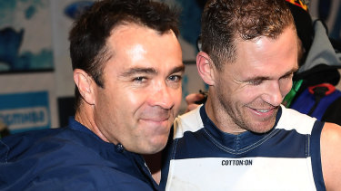 Geelong coach Chris Scott (with captain Joel Selwood) was a former assistant at Fremantle.