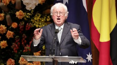 Bill Kelty speaks at the state memorial service for former prime minister Bob Hawke at the Sydney Opera House.
