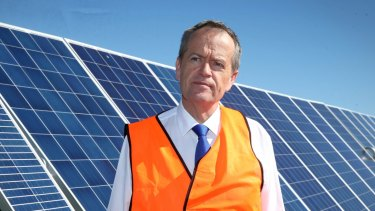 Opposition Leader Bill Shorten, pictured at the Mt Majura Solar Farm, says the Labor plan will increase investment in renewable energy.