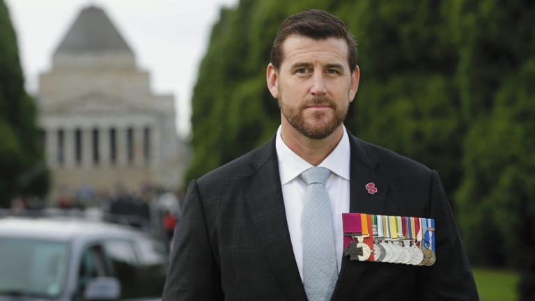 Ben Roberts-Smith, on Anzac Day in Melbourne, 2017, is one of four living recipients of the Victoria Cross.