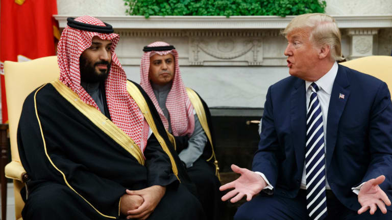 Saudi Crown Prince Mohammed Bin Salman (left) booked out rooms at the Trump Hotel during a March 2018 trip to the US.