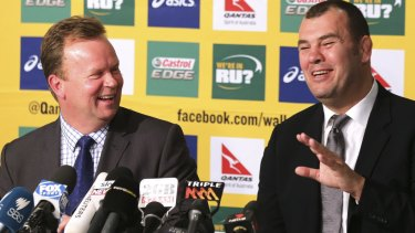All smiles: Pulver and Michael Cheika at the announcement of Cheika as new Wallabies coach in October 2014.