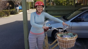 Dorky me with my starter bike Laura, 2.5 years ago, when cycling to work was new and scary and we still had a car.