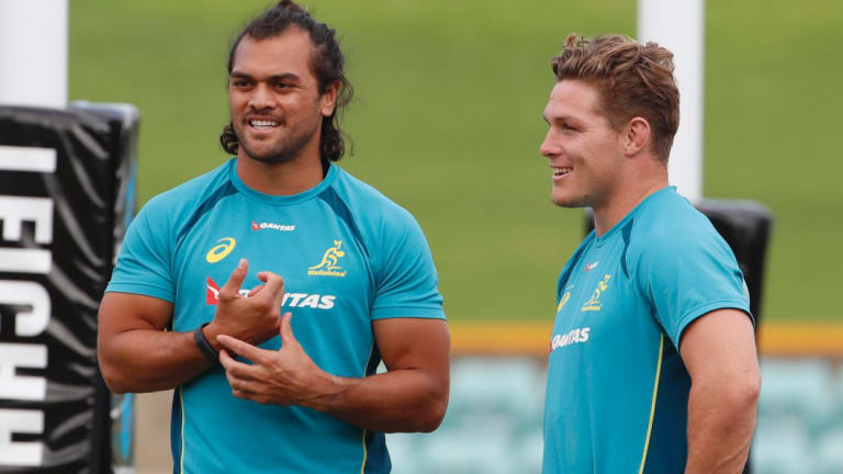 NSW bound? Hunt chats with Michael Hooper during Wallabies training in 2017.
