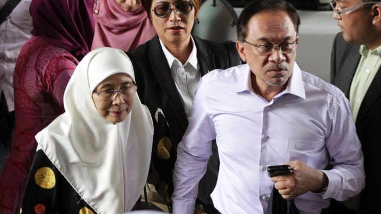 Anwar Ibrahim in 2015 as he loses his final appeal against a sodomy charge.