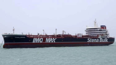 A British-flagged oil tanker Stena Impero, which was seized by the Iran's Revolutionary Guard on Friday is photographed Saturday in the Iranian port of Bandar Abbas.