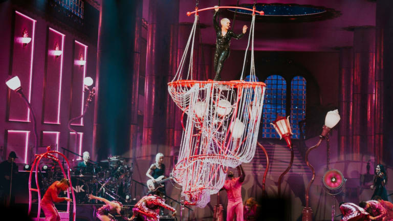 P!NK performs at Rod Laver Arena in Melbourne on July 16.