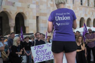 NTEU rallies like this recent one in Queensland have been held nationally, protesting university restructures that have come at the cost of jobs. However, WA has remained largely quiet.