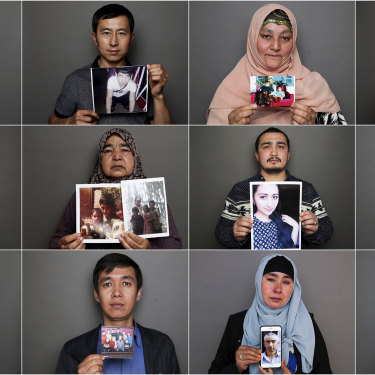 Uighurs residents in Australia hold photos of relatives who are missing in China.