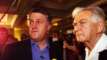 Facing the grim news ... Bob Hawke and Malcolm Turnbull digest the result of the referendum at the republicans' party at the Marriot Hotel in Sydney in 1999.
