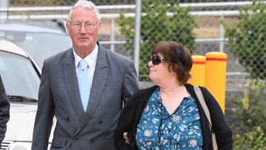 Bill and Margaret Spedding arrive at the Coroner's Court on Monday.