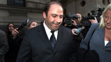 Nicola Gobbo (right) with Tony Mokbel in 2002 after he was released on bail.