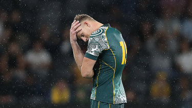 Reece Hodge reacts after missing a late penalty against Argentina last year in Sydney.