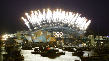 Olympic closing ceremony fireworks.