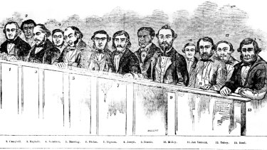 The 13 men charged with treason for their part in the Eureka Rebellion.