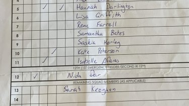 Herald reporter Sarah Keoghan was listed as 13th man for the practice match.