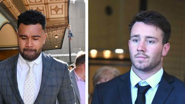 Former NRL players Zane Musgrove, left, and Liam Coleman leave the Downing Centre District Court in Sydney.