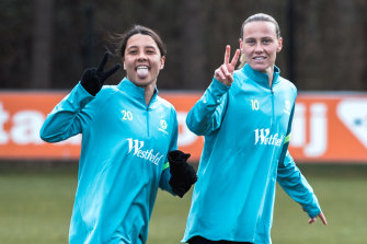Sam Kerr and Emily van Egmond at Matildas training in Germany