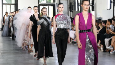 Models at Toni Maticevski's Paris show. The designer has spent 20 years carving out his signature style.