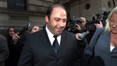 Mokbel is all smiles in 2002 after Gobbo won him bail on a $1 million surety.