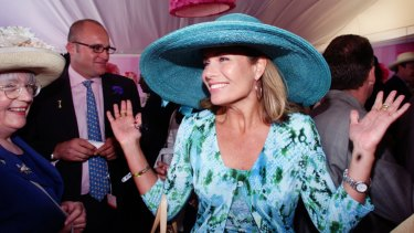 Former Myer ambassador Deborah Hutton in the company's marquee at Flemington in 2000.