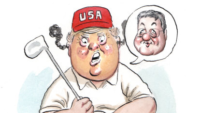 Furious Trump tees off about Downer