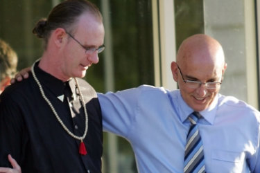 Andrew Mallard walks out of Casuarina prison with John Quigley.
