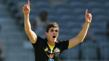 Breakthrough: Australian paceman Sean Abbott celebrates taking another wicket against Pakistan at Optus Stadium in Perth.
