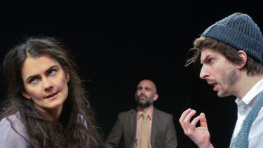 Grace Naoum as Molly with Matt Abotomey (Frank) and, in the background, Yannick Lawry as Mr Rice in Molly Sweeney.