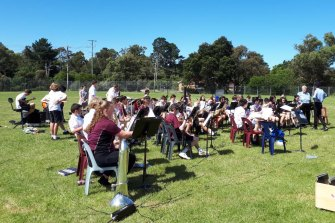 One of Ringwood Secondary College's 16 ensembles rehearsing on the school oval earlier this year.