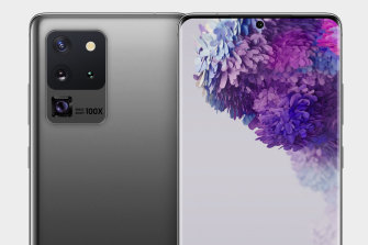 An artist's render of the Galaxy S20, based on the most recent leaks, shows a three-camera array. Below is a 10x optical zoom lens (marked 'Space Zoom 100x) which is rumoured to be exclusive to a premium version of the phone.