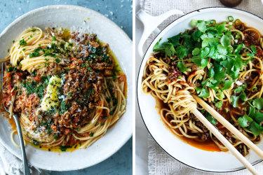 Jill Dupleix's spaghetti bolognese (left) and Hokkien noodle bolognese.