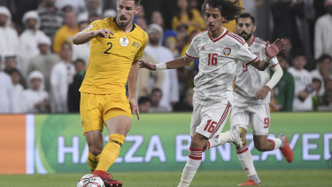 Australia's defender Milos Degenek makes a shocking backpass to his goalkeeper.