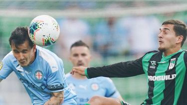 Melbourne City's Adrian Luna, left, has returned to Australia ahead of the planned competition resumption.