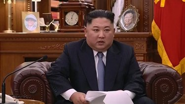 Kim Jong-un delivers a televised New Year's Day speech in North Korea.