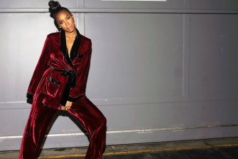 Kelly Rowland stepping out in a robe by Sleeping With Jacques.